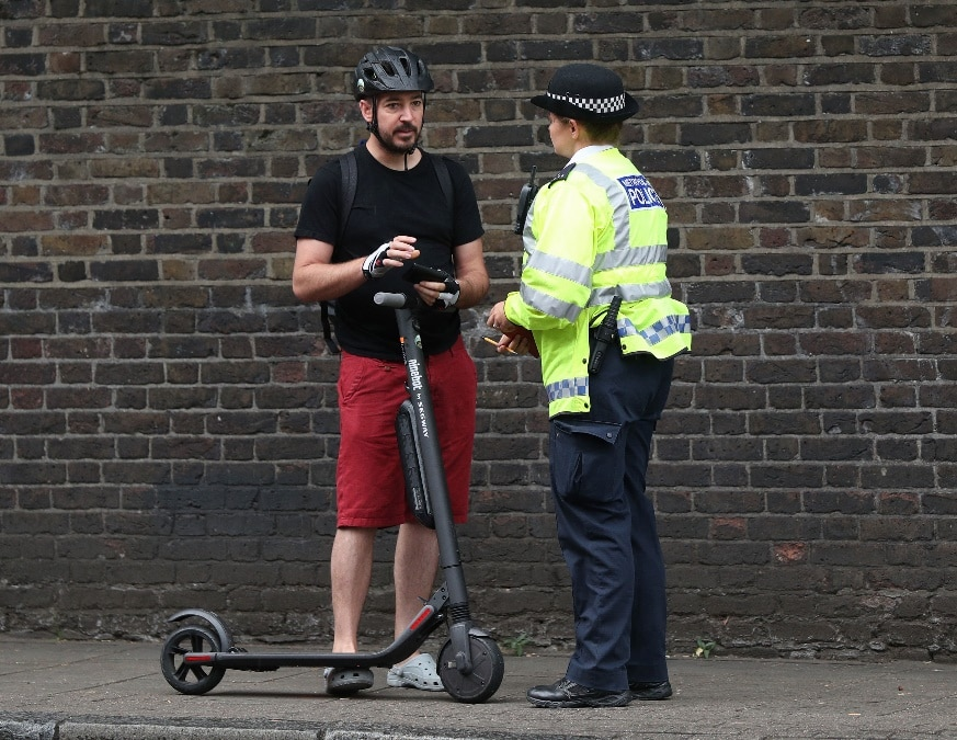 An e-scooter rider, who was stopped by the police and given a warning, was asked to get off and push the scooter