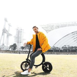 folding electric scooters on street